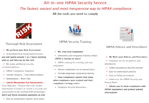 A wide range of help with HIPAA provided by HIPAA experts.